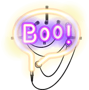 Neon Sign says Boo! - Step 4 in The Bookfest's scavenger hunt
