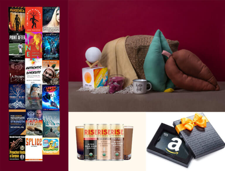 TheBookfest grand prize giveaway - 18 books, household items, rise cold brew, amazon gift card