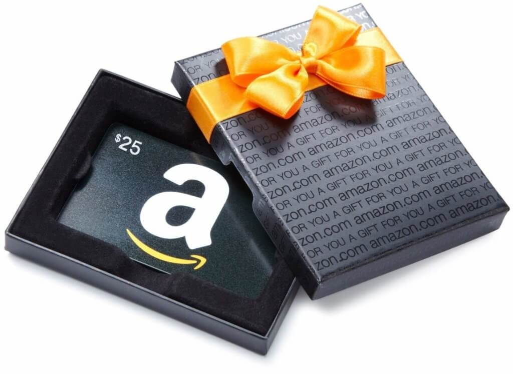 Gift box holding an Amazon gift card
