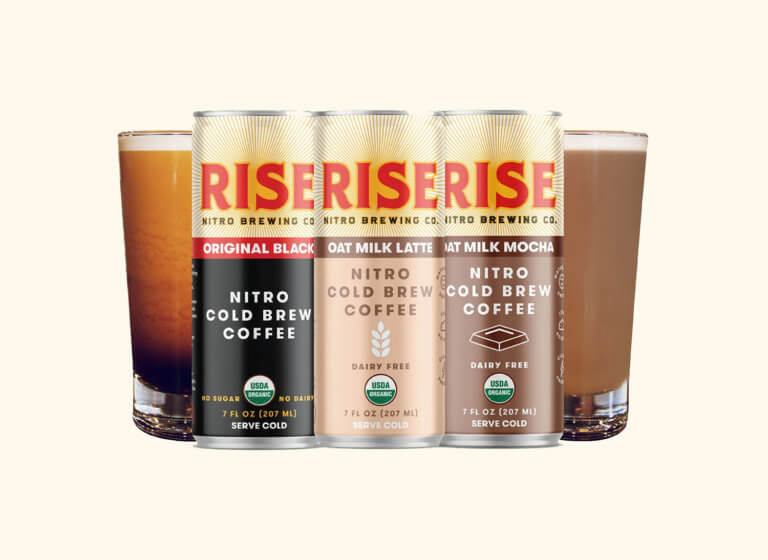 Rise nitro brewing co. cans and glasses of nitro cold brew coffee - a sponsor of The Bookfest's giveaway