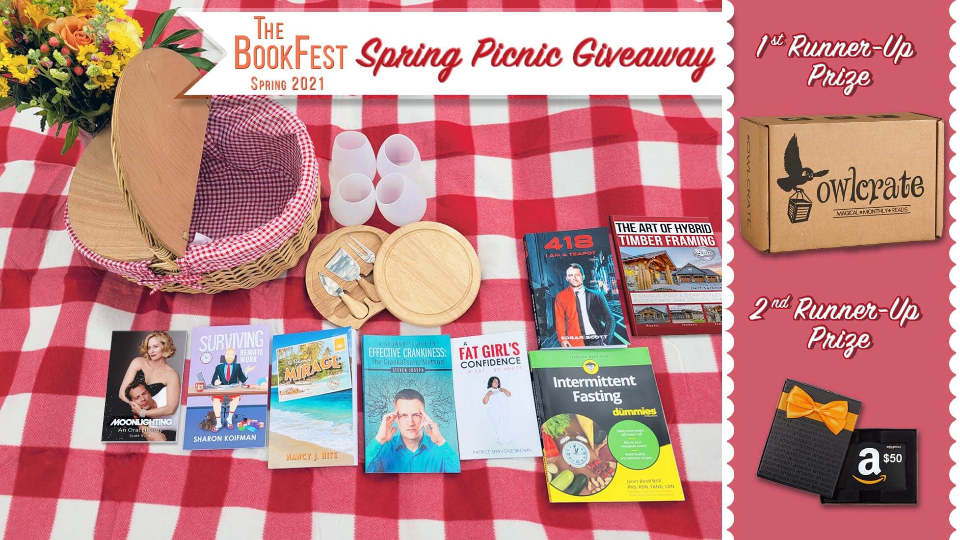 The BookFest Spring Giveaway prizes include books, a picnic basket, wine glasses, and more