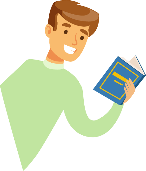 Illustration of a smiling man holding an open book